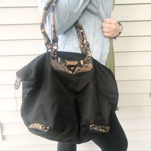 Rebecca Minkoff Nylon Snakeskin Tote Top Zip Black